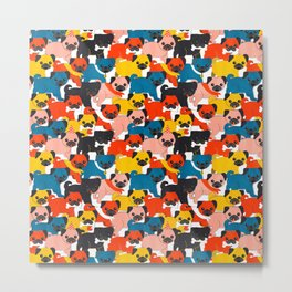 COLORED PUGS PATTERN no2 Metal Print