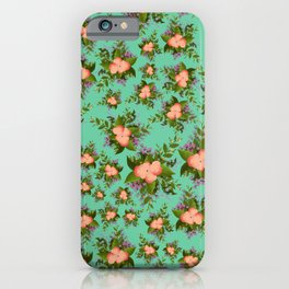 Watercolor Flowers on teal background iPhone Case