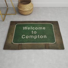 Welcome to Compton, roadside sign illustration Rug