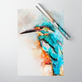 Watercolor kingfisher bird Wrapping Paper