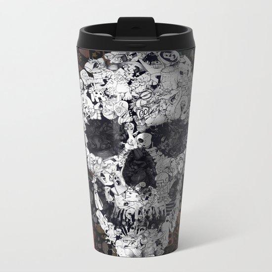 Doodle Skull Metal Travel Mug