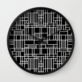 Map Lines Black Wall Clock