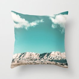 Vintage Desert Snowcaps // Sandy Mojave Covered in Snow at Red Rock Canyon National Park Nature Throw Pillow