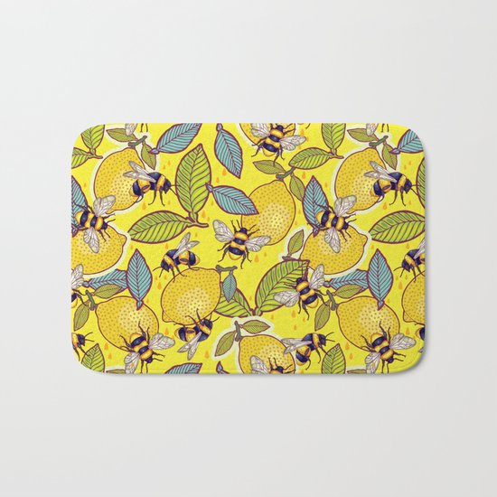 Yellow lemon and bee garden. Bath Mat