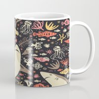 positive Mugs featuring Oceanica by Anna Deegan