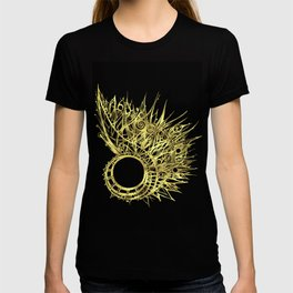 GOLDEN CURL - SHINING PAINTING ON BLACK BACKGROUND T-shirt