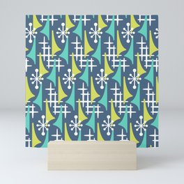 Mid Century Modern Atomic Wing Composition 55 Blue Turquoise and Chartreuse Mini Art Print