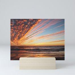 Sunset on the beach. Mini Art Print