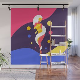 Funky Universe Colorful Lady Wall Mural