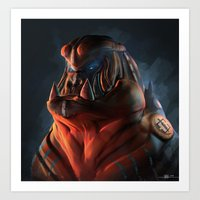 gorilla Art Prints featuring Gorilla by Kirk Pesigan