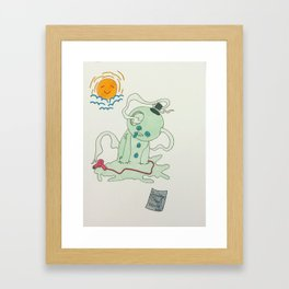 melting snowman Framed Art Print