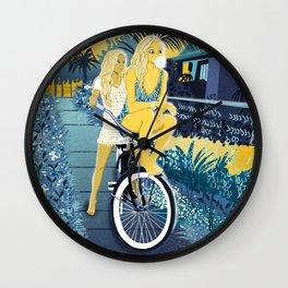 The girls on the bike Wall Clock