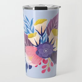April Florals on Blue Travel Mug