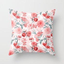 Vintage & Shabby Chic - Rose Blush Garden Flowers Throw Pillow