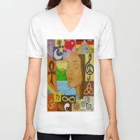 meditation V-neck T-shirts featuring Meditation by Katherine Felix
