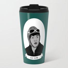 Bessie Coleman Illustrated Portrait Travel Mug