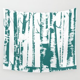 Old Growth Birch Forest in Blue Wall Tapestry