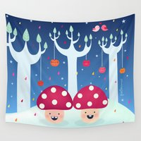 twins Wall Tapestries featuring The Twins by Piktorama