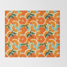 Orange Harvest - Blue Throw Blanket