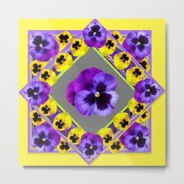 GEOMETRIC  PURPLE & YELLOW  PANSIES ON BUTTER YELLOW Metal Print