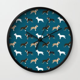 Bull Terrier dog breed cute custom pet portrait pattern all coat colors Wall Clock