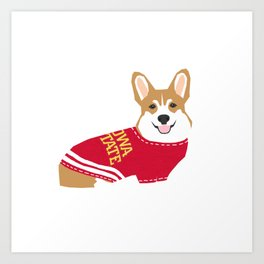 Corgi team spirit sweater collegiate fan Art Print
