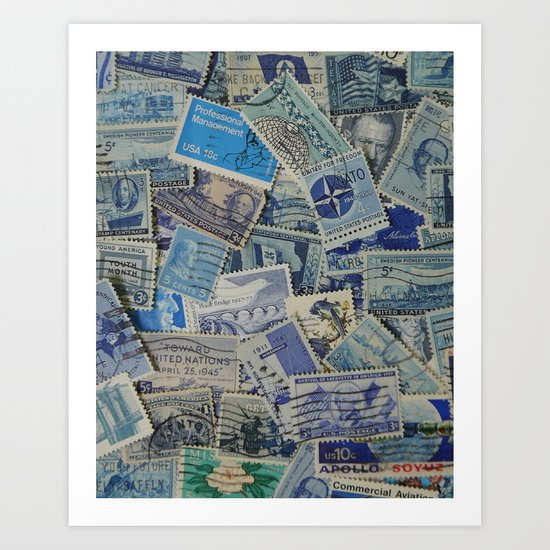 Vintage Postage Stamp Collection - Blue Art Print