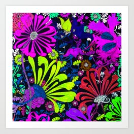 CHARTREUSE PURPLE MUMS FLOWER GARDEN Art Print