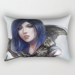 Carry on - Fantasy archer hunter girl with hawk bird Rectangular Pillow
