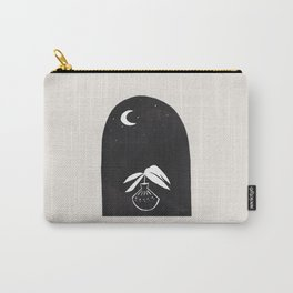 Abstract Minimalist Modern Mid century Black Ink Paper Collage Line Drawing Plant Vase Moon Night Sky Carry-All Pouch