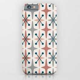 Mid Century Modern Abstract Star Pattern 223 Teal Brown Dusty Rose and Gray iPhone Case