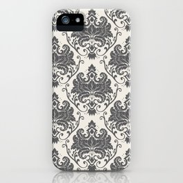 Luxury Floral Damask Pattern – Neutral Dark Gray and Cream iPhone Case