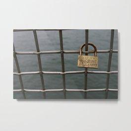 Love Lock on a Bridge Metal Print