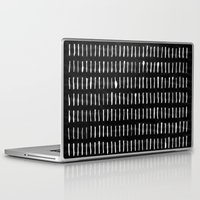woodstock Laptop & iPad Skins featuring White on Black Woodstock Pattern by LacyDermy