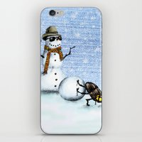 snowman iPhone & iPod Skins featuring Snowman by Anna Shell