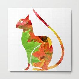 Fall Leaf Cat Metal Print