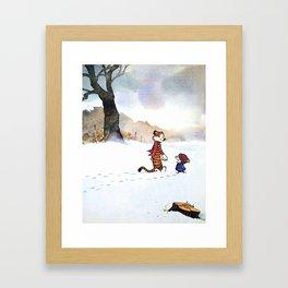 calvin hobbes snow Framed Art Print