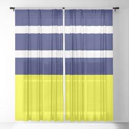 Summer Patio Perfect, Yellow, White & Navy Sheer Curtain