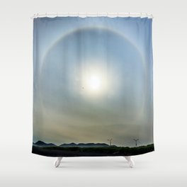 Plane in the Sun circle Shower Curtain