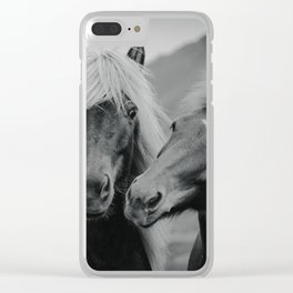 Happy Horses | B&W Clear iPhone Case