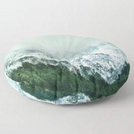 Snowy Winter Mountain Landscape with Alpenglow Floor Pillow