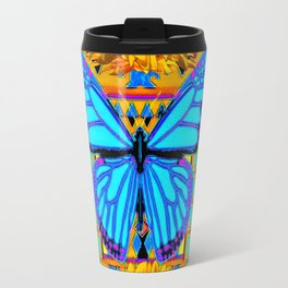 Golden Sunflowers Blue Butterfly black Art Travel Mug