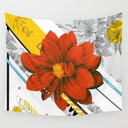 red flower collage Wall Tapestry
