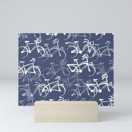 Bicycles Pattern | Medium Warm Blue Mini Art Print