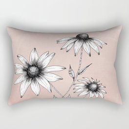 Wildflowers Ink Drawing | Dusty Pink Rectangular Pillow