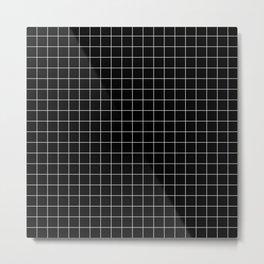 Grid Pattern in Black Metal Print