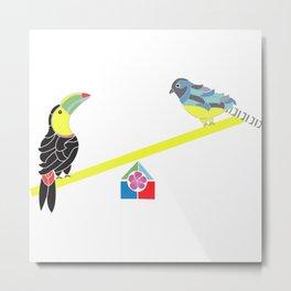 Birds on a seesaw Metal Print