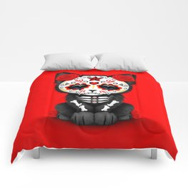 Cute Red Day of the Dead Kitten Cat Comforters