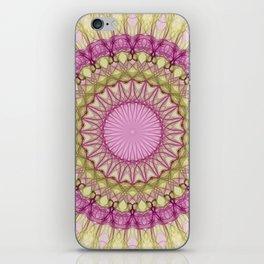 Delicate pink and yellow mandala iPhone Skin