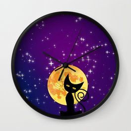 Cat in starry night Wall Clock